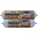 MyMenue4Dogs Rindswurscht mit Kartoffel, Apfel u. Hüttenkäse
