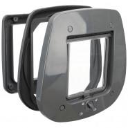 4-Wege Freilauftür für Glastüren, 27x26 cm grau