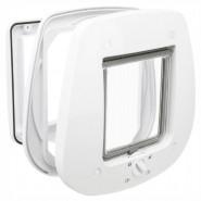 4-Wege Freilauftür für Glastüren, 27x26 cm weiß