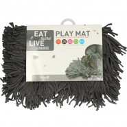 Eat Slow Live Longer Play Mat, 44 x 28cm, grey