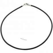 Halskette, Kautschuk, 3mm, schwarz
