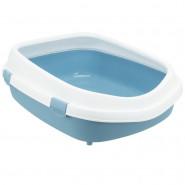 Katzentoilette Primo XXL m. Rand, 56x25x71cm, blau/weiß