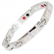 Magnet-Armband Pfoten und Zirkonia, 9mm, M-XL, silberfarben