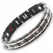 Magnet-Armband mit Pfoten, 13mm, schwarz/silberfarben