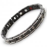 Magnet-Armband mit Pfoten, 8mm, schwarz/silberfarben