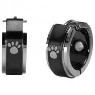 Magnet-Ohrringe mit Pfoten, schwarz/silberfarben