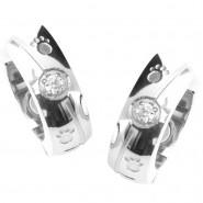 Magnet-Ohrringe mit Pfoten und Zirkonia, silberfarben