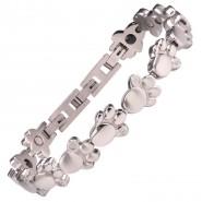 Magnet-Pfoten-Armband, 10mm, M-XL, silberfarben