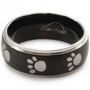 Magnet-Ring mit Pfoten, 8mm, schwarz/silberfarben