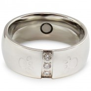 Magnet-Ring mit Pfoten und Zirkonia, 8mm, silberfarben