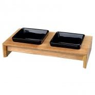 Napf-Set, Keramik/Holz, Näpfe: schwarz