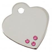 Herz Klein Chrom mit Steinen Pink