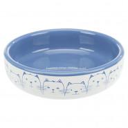 Keramiknapf Katze, flach,  0,3 l / 13 cm, weiß/blau