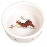 Keramiknapf mit Motiv, Katze, 0,2 l / 11 cm, weiß