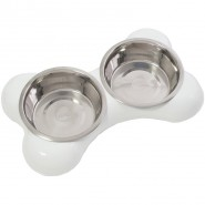 Hing The Bone Bowl Dog, white