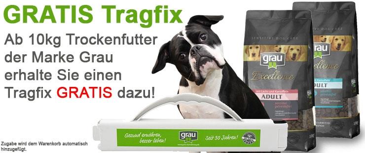 Grau Trockenfutter GRATIS Tragfix