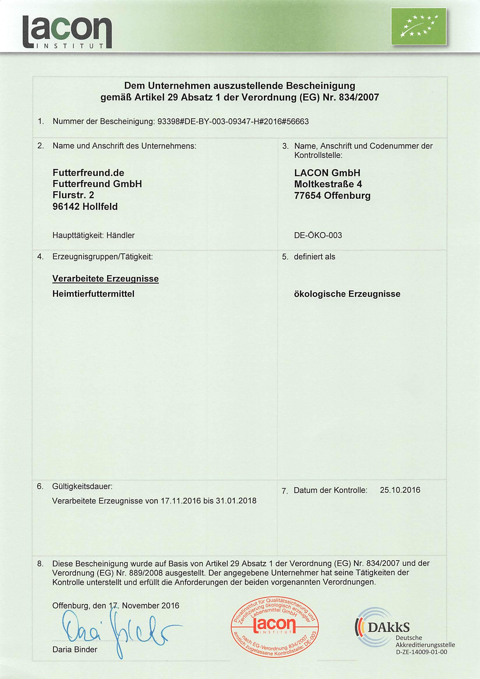 Bio Zertifikat 2017