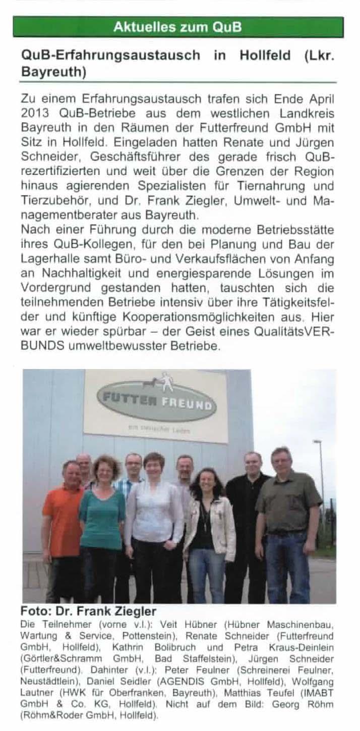 Qub Treffen 2013 beim Tiernahrungsversender Futterfreund in Hollfeld
